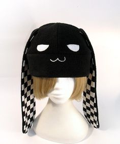 Bunny Rabbit Fleece Hat with Black Checkers by Jequila on Etsy d6b723593863