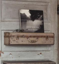 Metal Vintage Style Suitcase Shelf  											  										  										  											  												  												with distressed grey finish