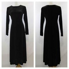 Vintage 90s Black Velvet Long Sleeve Evening by SammysChifforobe