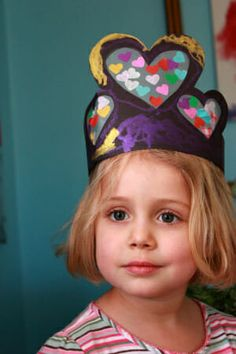 Stained Glass Heart Crowns -- a fun kids craft for Valentine's Day
