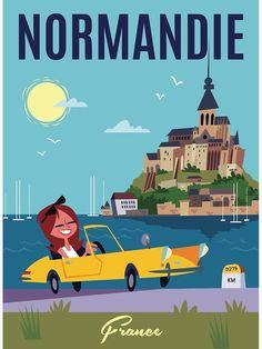'Normandie Poster' Art Print by Gary Godel Illustrations, Book Illustration, Le Mont St Michel, Ville France, Vintage Travel Posters, Poster Vintage, Art Deco Posters, Book Images, Travel Images