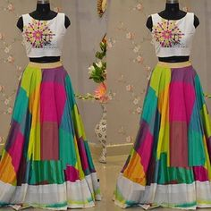 Adorn your ethnic style with the grace of this multicoloured printed silk lehenga set. Western Dresses, Indian Dresses, Indian Outfits, Choli Dress, Anarkali Dress, Navratri Dress, Lehenga Designs, Classic Wedding Dress, Half Saree