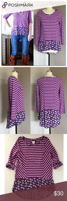 """Anthropologie Fairley Stripe High Low Tunic Postmark for Anthro top is a fun mix of prints and I love the purple color on this fairly tunic with bird print Roll tab sleeves; hip pockets; raw hems High low ...EUC Length: hi- lo 27"""" - 30"""" Bust: 17""""   * pics courtesy of Breakfastatgigis.blogspot.com Anthropologie Tops Tunics"""