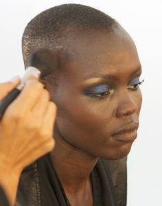 Blue Eyeshadow At Jeremy Scott, New York Fashion Week.  I love the gold!