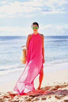 Lovely beach pink maxi dress fashion