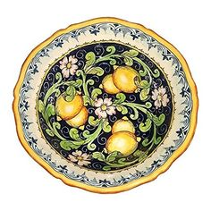 CERAMICHE DARTE PARRINI  Italian Ceramic Art Pottery Bowl For Fruit Salad Pasta Hand Painted Made in ITALY Tuscan ** Find out more by clicking the VISIT button