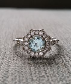 Halo Aquamarine and Diamond Ring Gemstone Engagement Ring Antique Flower Estate…