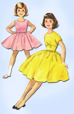 1950s Vintage McCalls Sewing Pattern 5266 Toddler Girls Party Dress Size 6 24W #McCalls #DressPatern