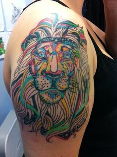 abstract lion tattoo by Lacey