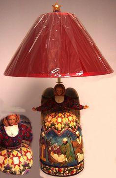 - Jim Shore Heartwood Creek - Jim Shore Angel Lamp W/ Nativity Scene