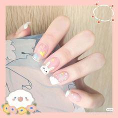 Manicure Nail Designs, Nail Manicure, Nail Art Designs, Nail Polish, Korean Nail Art, Korean Nails, Hairdos For Curly Hair, Pastel Nail Art, Bunny Nails