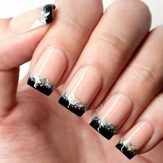 Black and silver glitter tips
