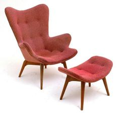 Grant Featherston; #R160 'Contour' Armchair and Ottoman, c1953.