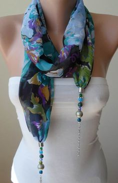 Jewelry Scarf - Blue and Multicolor -Necklace Scarf with Beads and Chain - Trendy - Fashion on Etsy