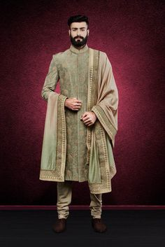 Designer Indian Wedding Sherwani for Groom Sherwani For Men Wedding, Wedding Dresses Men Indian, Mens Sherwani, Sherwani Groom, Indian Wedding Wear, Wedding Dress Men, Wedding Men, Punjabi Wedding, Wedding Ideas
