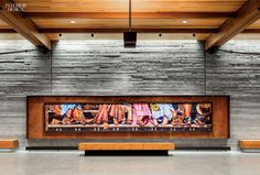 The south-facing facade of Wyoming's Jackson Hole Airport is clad in quartzite and weathered steel. Photography by David Lauer. Jackson Hole Airport, Jackson Hole Wyoming, Interior Work, Interior Architecture, Interior Design, Glass Curtain Wall, Public, Learning Spaces, Hotel Lobby
