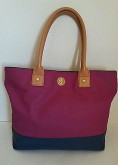 Authentic TORY BURCH Jaden Fuschi Navy Canvas Tote Bag Leather Trim MSRP $250