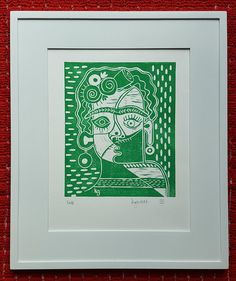 """Frida Kahlo"" linoprint. Cubist portrait of Mexican artist Frida Kahlo available in black, red, or green. 11x14. Artwork by Kelly Garrett."