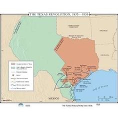 the texas revolution 1835 1836 historical wall map identifies in color the accepted territory