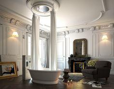 Bathroom Interior Ideas: Dream Light 500 Dia Luxury Shower Head in a Luxury Style Bathroom Entspannendes Bad, Bad Styling, Chromotherapy, Luxury Shower, Rain Shower, Light Therapy, Bathroom Styling, Shower Heads, Bathroom Interior