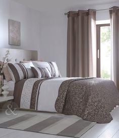 Funda de edredón plisada rayas marrones – Algodón Natural Blanco. Ropa De Cama | eBay