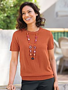 """""""The fit of this sweater is excellent and the gauge makes it perfect for cooler weather. I like the slightly longer length and cashmere-like softness."""" ~ from """"roknrobin"""" of New Jersey"""