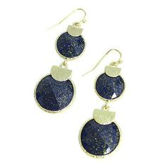 "Glitter Dangle Earrings; 2""L; Gold Metal; Blue Glitter Gemstones; Eileen's Collection. $19.99"