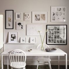 Inspiration for my desk area in my room. Love everything involving photo frames