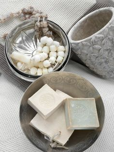 Handmade soap in a decorative bowl