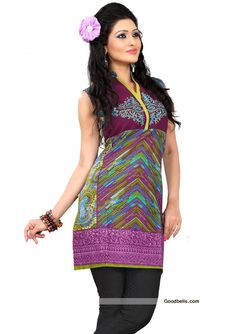 Beautifully designed blue shade cotton tunic/kurti for this summer. Readymade sleeveless tunic/kurti available till bust size of 40 inch. Embroidered neck yoke with multi pattern prints, which gives it trendy look. You can wear it with jeans as well as matching legging. Recommended for college and office going girls. Click here to check more such kurtis or tunics…
