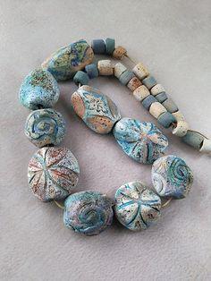 by Valentina Pavlova Ceramic Pendant, Ceramic Jewelry, Ceramic Beads, Jewelry Making Beads, Jewelry Art, Beaded Jewelry, Bohemian Jewelry, Polymer Clay Necklace, Polymer Clay Beads