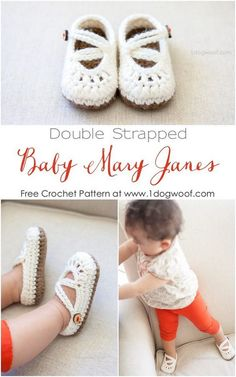 crochet baby shoes Use this free baby mary janes crochet pattern to whip up an adorable pair of baby shoes for you or a friend. Crochet Baby Clothes, Crochet Baby Shoes, Crochet Slippers, Cute Crochet, Crochet For Kids, Baby Girl Crochet, Baby Slippers, Crochet Gifts, Crochet Booties Pattern