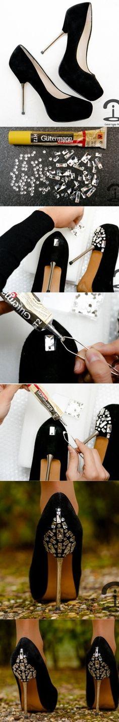 Crimenes de la Moda DIY - Jewelled shoes - swarovski - tacones joya - zara - zapatos fiesta