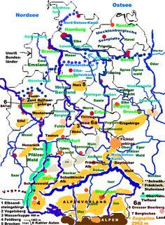 deutsche Flüsse, Berge, Landschaften
