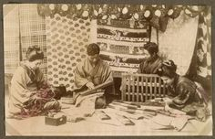 Japanese workmen: Embroidery and working with silk, Japan. | by National Museum of Denmark