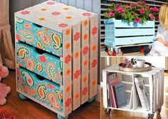 15 Painted Wooden Crate Projects That Are Just Amazing - www. - 15 Painted Wooden Crate Projects That Are Just Amazing – www. Wooden Crates Nightstand, Crate Furniture, Funky Furniture, Wooden Crates Projects, Old Wooden Crates, Wooden Boxes, Crate Crafts, Diy Casa, Painted Boxes