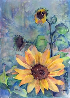 Sunflower In Bloom Painting  - Sunflower In Bloom Fine Art Print