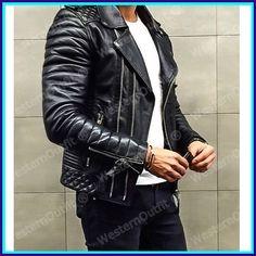 New Men's Genuine Lambskin Leather Jacket Black Slim fit Biker Motorcycle jacket in Clothing, Shoes & Accessories, Men's Clothing, Coats & Jackets Leather Jacket Outfits, Lambskin Leather Jacket, Leather Men, Leather Jackets, Revival Clothing, Men's Wardrobe, Wardrobe Clothing, Men's Clothing, Jacket Style