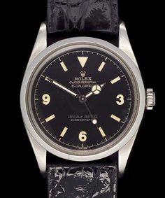 1957 - Very Rare Steel ROLEX Explorer with Gloss Black Dial, 3,6,9 Numerals and Mercedes Hands, Automatic Movement.