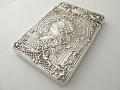 Edwardian silver antique ART NOUVEAU card case Crisford & Norris 1907 STUNNING