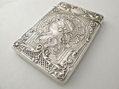 Edwardian silver antique ART NOUVEAU card case Crisford & Norris 1907 STUNNING