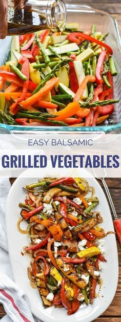 These Easy Balsamic Grilled Vegetables with Goat Cheese use the best summer produce to make a sweet and tangy side dish with the fire roasted flavor of the grill!