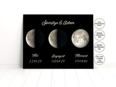 Met, Engaged,Married,Moon phase,Personalized Moon Maps Printable,Love Story Dates Sign,Wedding Gift Printable,For Bride,For Groom,For Couple