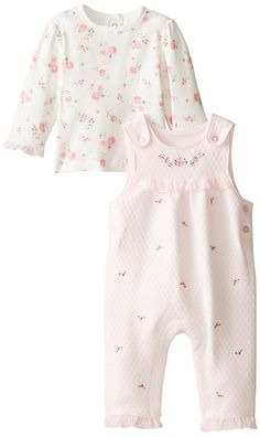 Amazon.com: Little Me Baby-Girls Newborn Rosebud Overall Set: Clothing