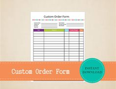 Custom Order Form  Business Planner  Business by MBucherConsulting