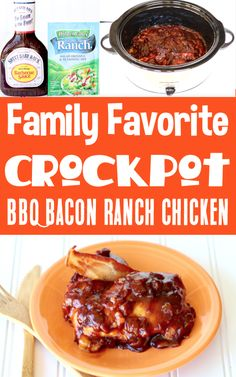 Crockpot Chicken Recipes - Easy BBQ Ranch Slow Cooker Chicken! With just 4 ingredients, this will beone of the EASIEST dinners you'll make all week! Go grab the recipe and give it a try! Best Bbq Recipes, Delicious Crockpot Recipes, Barbecue Recipes, Pork Recipes, Easy Dinner Recipes, Easy Meals, Cooking Recipes, Crockpot Meals, Easy Recipes