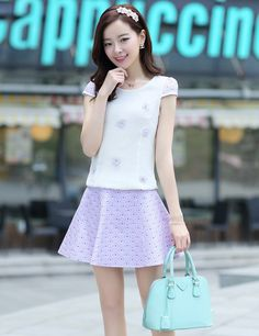 Graceful Princess Purple Puff Sleeve With Short Skirt
