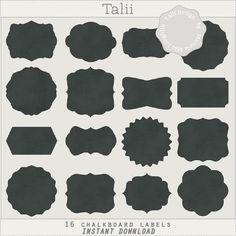 Chalkboard Labels CLIP ART SET- 16 shapes of labels, frames and tags in chalkboard background, in black/ png files /design elements /clipart