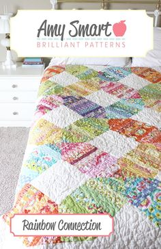 Rainbow Connection Quilt pattern, comes with instructions for baby, twin, throw, queen, and king sizes.