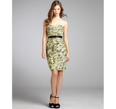 Monique Lhuillier yellow and black printed silk pleated bead embellished dress